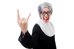 Comic nun isolated on white Stock Images