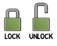 Comic open and closed lock Stock Photos