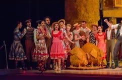 Comic opera Love drink. DNIPRO, UKRAINE - JUNE 24, 2017: Comic Opera Love drink performed by members of the Dnipro Opera and Ballet Theatre Stock Images