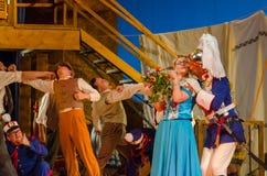 Comic opera Love drink. DNIPRO, UKRAINE - JUNE 24, 2017: Comic Opera Love drink performed by members of the Dnipro Opera and Ballet Theatre Stock Photo