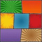Comic page background. With halftone radial and rays humor effects in different colors. Vector illustration Stock Photo