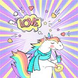 Comic page bright concept with magic animal unicorn and speech bubble LOVE. ! Pop art retro vector illustration vector illustration
