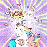Comic page bright concept with magic animal unicorn and speech bubble LOVE. ! Pop art retro vector illustration royalty free illustration