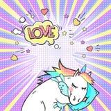 Comic page bright concept with magic animal unicorn and speech bubble LOVE. ! Pop art retro vector illustration stock illustration
