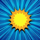 Comic page bright concept. With yellow and orange speech bubble, rays, dotted and radial effects on blue background. Vector illustration Royalty Free Stock Photography