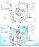 Comic frame with cartoon surgeon standing at the doors of the operating room Royalty Free Stock Photo