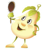 Comic pear with a mirror Stock Photos