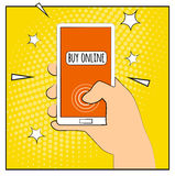 Comic phone with halftone shadows. Hand holding smartphone with buy online internet shopping. Pop art retro style. Flat design. Ve Royalty Free Stock Photos