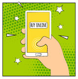 Comic phone with halftone shadows. Hand holding smartphone with buy online internet shopping. Pop art retro style. Flat design. Ve Royalty Free Stock Images
