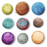 Comic Planets And Space Asteroids Set royalty free illustration