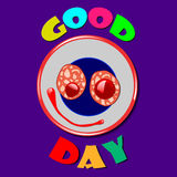 Comic plate Good Day. Comic color plate with wishes for good day. Vector illustration Royalty Free Stock Photo
