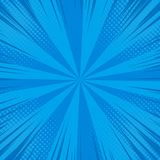 Comic pop art background. Speed lines halftone dots. Cartoon Vector Illustration on blue Stock Image