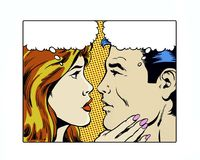 Comic pop art illustration of a romantic couple gazing. A romantic couple gazing into one another's eyes Royalty Free Stock Images
