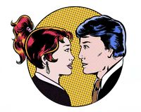 Comic pop art illustration of a romantic couple moment Royalty Free Stock Photo