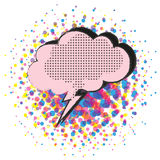 Comic pop art speech bubble cloud shape on halftone background. Comic pop art speech bubble on halftone background vector Royalty Free Stock Photos