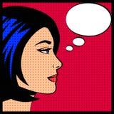 Comic pop art vector illustration of woman Stock Images