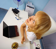 Comic portrait of woman - office worker Stock Images