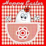 Comic postcard at Easter with a cheerful egg in th Royalty Free Stock Photo
