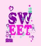 `sweet sleep night`, kids & woman t-shirt print vector illustration