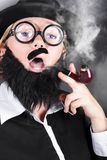 Comic private eye detective smoking pipe Stock Images
