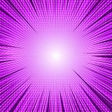 Comic purple light blank background. With rays radial and halftone effects. Vector illustration Stock Image