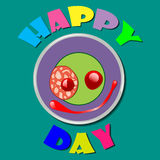 Comic purple plate Happy Day. Comic color plate with wishes for happy day. Vector illustration Royalty Free Stock Photography