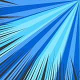 Comic radial blue blank background. With black rays and halftone effects in pop art style. Vector illustration Stock Photo