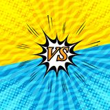 Comic rivalry and dueling background. With two opposite yellow and blue sides, speech bubble, sound, halftone, radial, waves humor effects. Vector illustration stock illustration