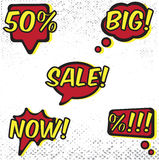 Comic Sales. Set of bubbles for sales in comic style Stock Photos
