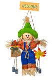Comic Scarecrow. Straw and fabric scarecrow with smiling face for Halloween. Isolated on white background Royalty Free Stock Photos