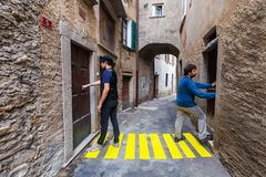 Comic scene. Concept, crosswalks in the alley royalty free stock image