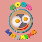 Comic scrambled eggs Good Morning. Comic scrambled eggs on a plate with a wish good morning. Vector illustration Stock Image