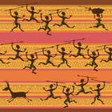 Comic seamless pattern of hunting aborigines Stock Images