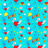 Comic seamless pattern for Valentine Day Stock Images