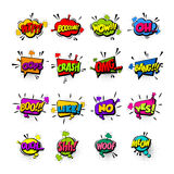 Comic set colored sound effects pop art vector. Comic collection colored sound effects pop art vector style. Set sound bubble speech with word and comic cartoon Stock Photo