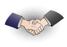 Comic shaking hands Stock Images