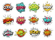 Free Comic Sign Clouds. Boom Bang, Wow And Cool Speech Bubbles. Burst Cloud Expressions Cartoon Vector Set Stock Photography - 164126182