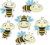 Comic silhouettes flying bees. different emotions Royalty Free Stock Image