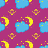 Comic sleep crescent moon, clouds, stars. Kids seamless pattern. Royalty Free Stock Photography