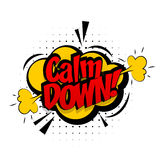 Comic sound effects pop art vector style calm down Royalty Free Stock Image