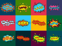 Comic sound effects in pop art vector style. Sound bubble speech with word and comic cartoon expression sounds. Illustration Royalty Free Stock Photos