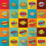 Comic sound icons set, flat style. Comic sound icons set. Flat illustration of 25 comic sound vector icons for web Royalty Free Stock Photo