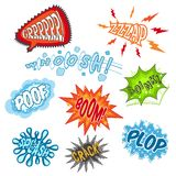 Comic Sound Set. Comic sounds humour communication cartoon speech bubbles set isolated vector illustration Royalty Free Stock Images