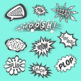 Comic Sounds Black. Comic sounds abstract cartoon text bubbles black set isolated vector illustration Royalty Free Stock Photo