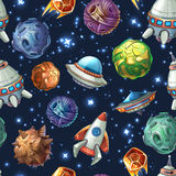 Comic space planets and spaceships. Vector