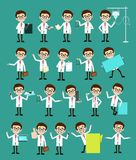 Comic Specialist Doctors Poses and Concepts Vector Set Stock Images