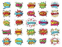 Free Comic Speech Bubble. Cartoon Comic Book Text Clouds. Comic Pop Art Book Pow, Oops, Wow, Boom Exclamation Signs Vector Stock Photos - 166284983