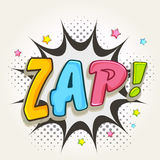 Comic speech bubble with colorful text Zap. Royalty Free Stock Images