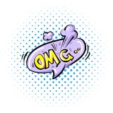 Comic speech bubble with expression text OMG. Vector bright dynamic cartoon illustration in retro pop art style isolated royalty free illustration
