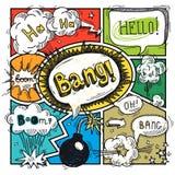 Comic speech bubble. Comic speech humor funny cartoon bubble sketch design background vector illustration Stock Photo